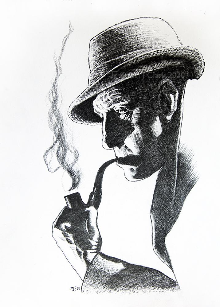 Pencil Sketch of Basil Rathbone in profile as Sherlock Holmes.