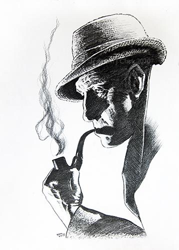 Pencil Sketch of Basil Rathbone in profile as Sherlock Holmes
