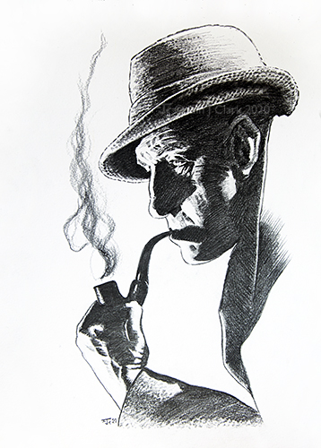 Pencil Sketch of Basil Rathbone in profile as Sherlock Holmes