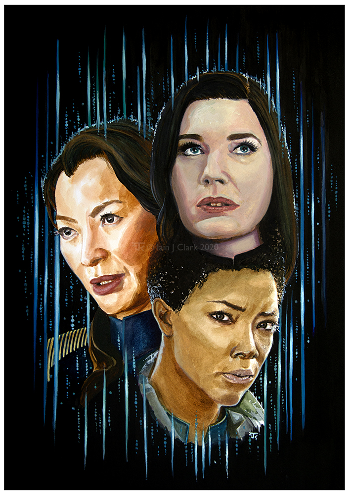 Acrylic painting of Michelle Yeoh as Captain Philippa Georgiou, Sonequa Martin-Green as Commander Michael Burnham, and Rebecca Romijn as Number One.
